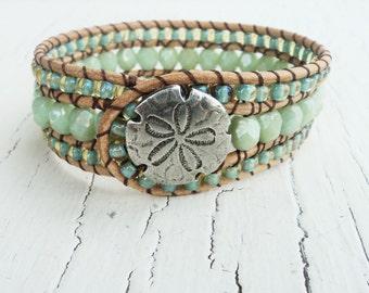 Seafoam Green Cuff, Beaded Leather Cuff, Sand Dollar Jewelry, Boho Wrap Bracelet, Beach Jewelry, Boho Bracelet, Bohemian Leather Wrist Cuff