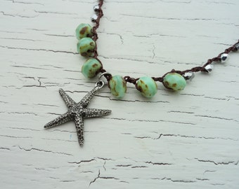 Crocheted Starfish Necklace, Seafoam beaded crochet. Silver and Seafoam. Beach Necklace, Surfer GIrl Necklace, Boho Chic, Beach Themed
