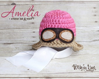 Newborn Aviator Hat and Scarf - Photography Prop