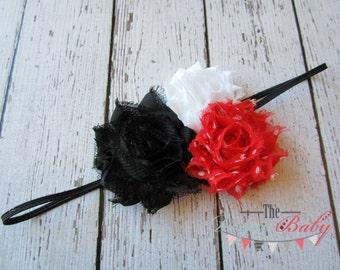 Skinny Headband Black Red White Polka Dots - Baby Newborn Infant Toddlers Girls Women