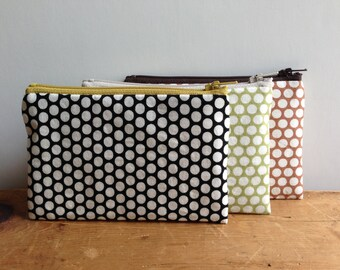 Coin Purse, White Polka Dots on Black , Small Zipper Pouch, Black and Yellow, Change Purse, Zipper Wallet, Japanese fabric