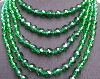Elegant Multi Strand Emerald Crystal Necklace c 1960