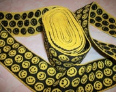 Vintage 60's Smiley Face Guitar Strap Hippie Embroidered Trim 5 yards