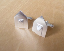Silver Cufflinks - Beach Huts - Sterling Silver