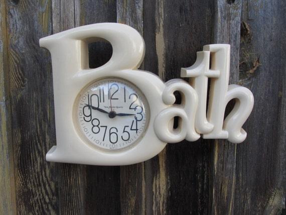 Vintage Bath Wall Clock Retro Decor 1980s Cream Color
