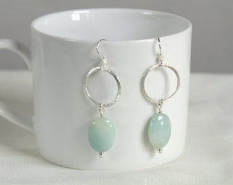 Sterling Silver Amazonite Earrings, Green, Circles