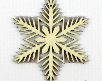 Pine Flower - Laser Cut Wood Snowflake in Multiple Sizes and Quantity Discounts