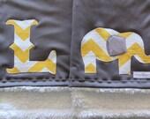 Elephant Baby Blanket Monogrammed Yellow Chevron