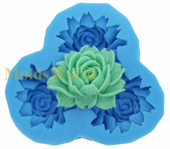A068 Large Rose Flexible Cabochon 3 Cavity Flexibl Silicone Mold Mould for Crafts, Jewelry, Scrapbooking,  (resin, Utee, pmc, polymer clay)