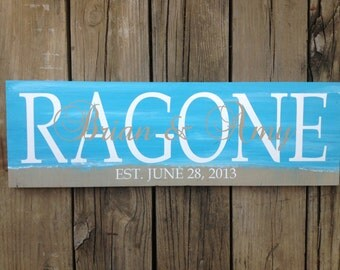 Personalized family name sign. Beach themed wedding.