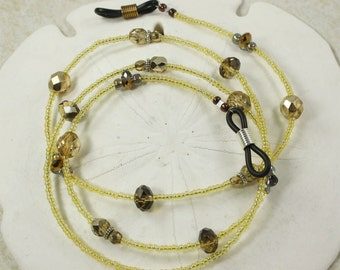 Eyeglass Strap, Yellow Strap, Gold Strap, Eyeglass Holder, Crystal Strap