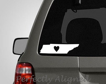 Tennessee with Heart Home State Vinyl Decal