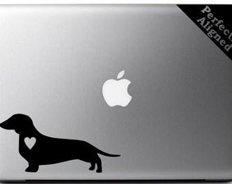Love your Daschund - silhouette with heart vinyl Macbook decal - pet decal, dog decal, macbook decal, etc...