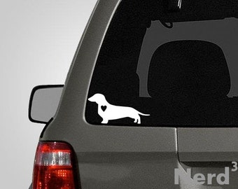 Love your Daschund - silhouette with heart vinyl car decal - pet decal, dog decal, macbook decal, etc...