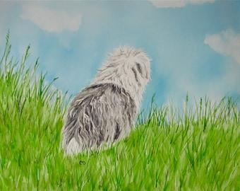 Old English Sheepdog Watercolor Print
