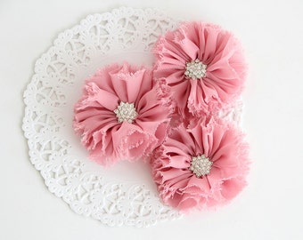 """3 pcs - PEACHY PINK Shabby Flowers with rhinestone buttons - Chiffon Frayed Flower - Fabric Flower - 2.4"""" Flowers - Wholesale Fabric Flower"""