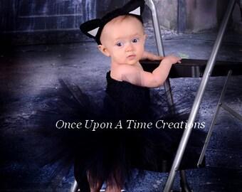 Black Cat Tutu Dress - Spooky Kitty Ears & Tail - Halloween Costume - Baby Girl Newborn 3 6 9 12 18 24 Months 3T 4T 5 6 7 8 10 Ready To Ship