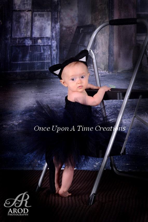 Black Cat Tutu Dress Spooky Kitty Ears & Tail Halloween