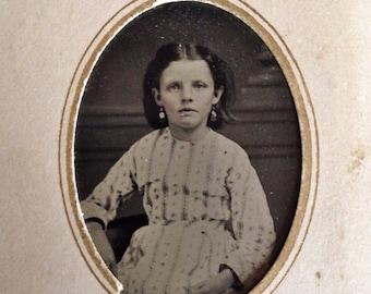 Original Antique Tintype Photograph Beautiful Young Girl Wearing Dangling Earrings