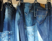 """Jeans Curtain, Recycled Denim Curtain with Pockets and Tie Tops, aprx. 70"""" square"""