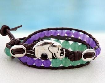 Double Luck for Double Trouble... Leather wrap bracelet... Beaded Double Wrap Bracelet. Original OceanBead Style.