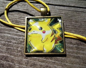 Pikachu Jungle Square pendant made from Trading Cards