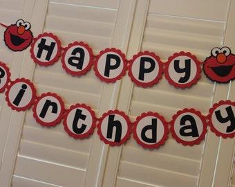 Elmo Sesame Street Birthday Party Banner Garland