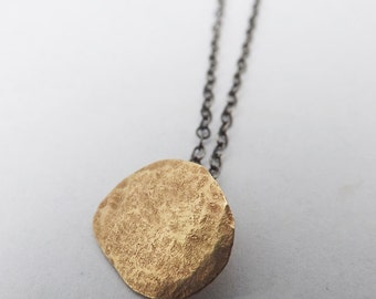 9ct gold necklace/ hammered gold pendant / gold pendant