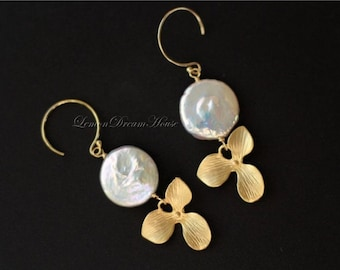 Gold Orchid Earrings, White Coin Freshwater Pearls, Gold Orchid Pendants, Gold-filled Earwires and Wire. June Birthstone. E151.