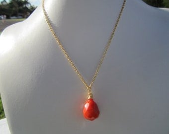 Tangerine Orange  Faceted Quartz and 14KT Gold Plated Necklace/ gift under 50 dollars/ wedding/ Mother of the Bride/ Semi Precious Gift