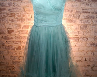 ON SALE 1950s Seafoam Blue Tulle Cupcake Dress