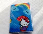 Passport Cover Rainbow Kitty Fabric & Vinyl Protector Destination Wedding Favor Travel Teams Cruise Child ID Geek 80s nostalgia