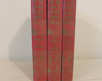 1950s Red Books New Human Interest Library THREE (3) Vintage Books Prop Books Book Bundle Decorator Books
