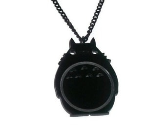 Totoro Necklace, Black Laser Cut My Neighbour Totoro Kawaii Anime Pendant