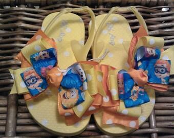 Bubble Guppies Yellow Toddler Flip Flops