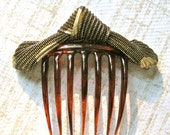 Hair Comb Accessory Vintage Gold Fabric on Hair Comb Stamped Italy Art Deco Style Headpiece