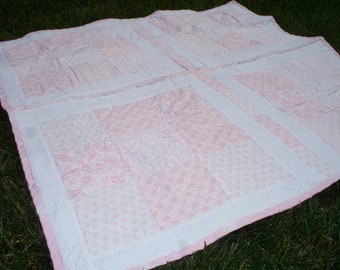 "38"" x 38"" Baby Quilt with Light Pink and White Floral Prints, White on White Floral Back and Pink Trim."