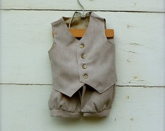 Baby Boy outfit set- Sepia Tan VEST & PANTS, TAN Baby Vest and Pants, Ringbearer outfit, photo prop for boy (sizes available 6 to 18 months)