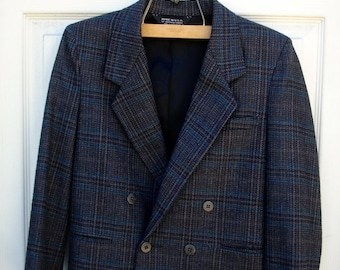 VINTAGE grey black plaid double breasted suit for boys, wool double breasted suit for boys (10-12)