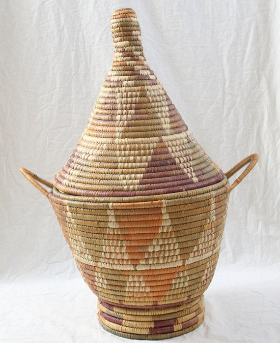 African Baskets With Lids: 24 Moroccan Basket W/Lid Bendelac Handmade In By