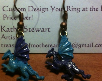 Dragon Dangle copper Earrings