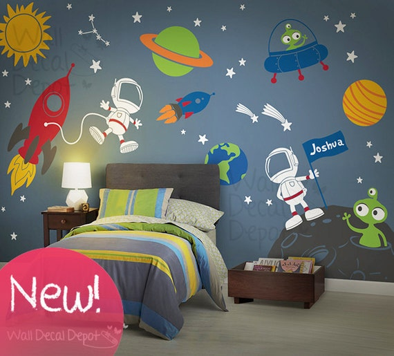 space wall decal planets astronaut boy galaxy planet wall stickers solar system wall stickers space wall