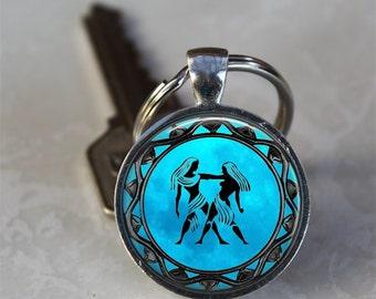Gemini Zodiac Astrology Horoscope Glass Dome Keychain (PD0320)
