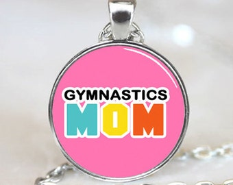 Gymnastics Mom On Pink Background Glass Tile Pendant (PD0440)
