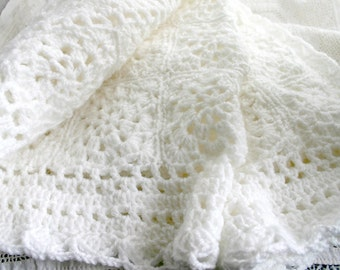 White Baby Blanket- Crochet- Made To Order- 56 Granny Squares- Hand Crocheted Baby Afghan- 33x30- Boy or Girl- Christening, Baptism