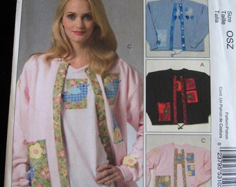 McCalls Crafts Womens Applique for purchased Cardigan and T Shirt Pattern M5255 UC FF