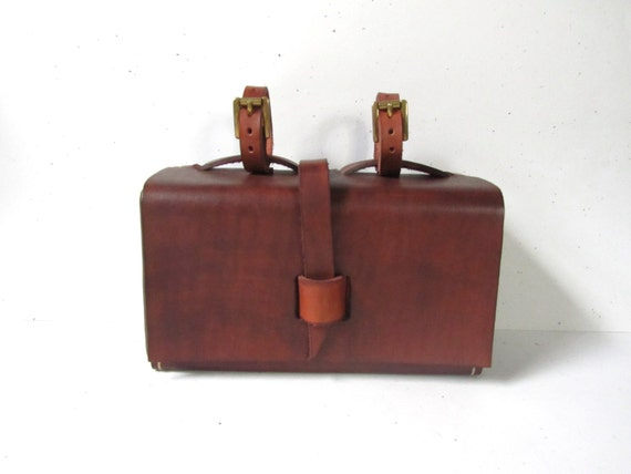 Leather Bike Bag, Dark Brown Tool Bag, Handmade
