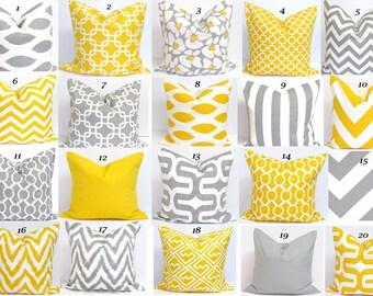 GRAY YELLOW PILLOWS.26x26 inch.Pillow.Pillow Cover.Decorative Pillows.Housewares.Gray Euro Pillow.Yellow.Floor Cushion Covers.Coordinates.