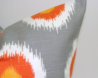 ORANGE.GRAY.PILLOW.12x16 or 12x18 inch.Lumbar Pillow Cover.Decorative Pillows.Housewares.Gray Pillow.Orange Pillow.Cushion.Orange.Gray.cm