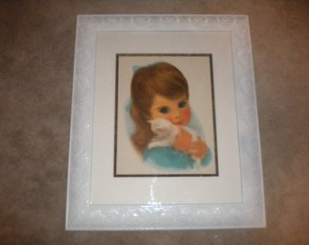 SALE...Large Up cycled Frame with Vintage Little Girl Print, Shabby Baby, Baby Girl Nursery, French baby Decor, Eclectic Baby Girl's Room
